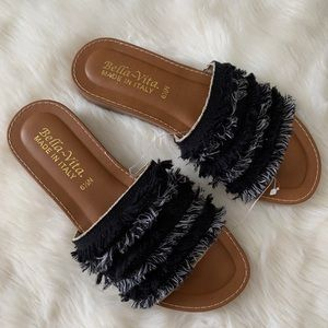 Bella Vita Nordstrom Abi-Italy Black Fringe Sandal